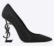 OPYUM pumps in crystal-decorated suede with a black heel