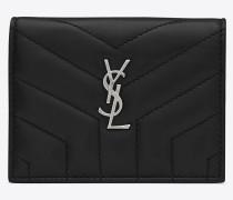 Loulou Kartenetui aus schwarzem Glanzleder mit Y-Steppnähten