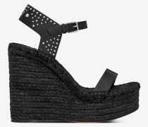 Espadrille 85 Sandale aus schwarzem Leder mit Nieten