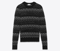 Pullover aus schwarzem und silberfarbenem Lurex-Strick im Zickzackmuster