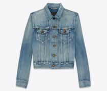 Jacke aus himmelblauem Denim in Stone-Waschung
