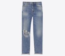 abgenutzte baggy-jeans aus blauem denim