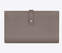 weiches, flaches sac de jour portemonnaie aus nebelgrauem narbenleder