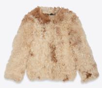 Jacke aus elfenbeinfarbenem und braunem Lammleder