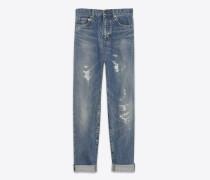 baggy-jeans aus blauem denim mit flicken