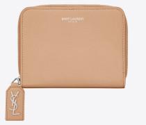 Kompaktes RIVE GAUCHE Portemonnaie aus genarbtem Leder mit Rundumreißverschluss