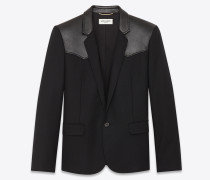 Western-style jacket in chevron wool and leather