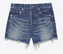 slim fit shorts aus ausgeblichenem, dunkelblauem denim