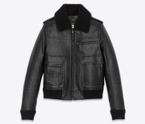 Aviator bomber jacket in lambskin with shearling collar