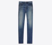 skinny-jeans mit mittlerer leibhöhe aus blauem denim