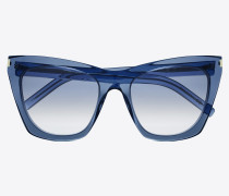 sonnenbrille new wave 214 kate aus transparentem, blauem acetat mit blauen gläsern