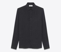 hemd mit yves-kragen aus schwarzer und weißer viskose mit aufgedrucktem mikropunktmuster