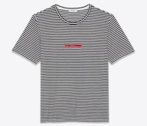 gestreiftes saint laurent t-shirt aus schwarzem jersey