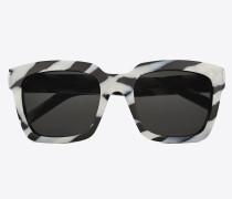 sonnenbrille bold 1 t aus schwarz-weißem acetat mit zebrastreifen und grauen gläsern