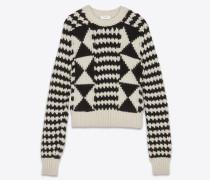 Pullover mit Streifen und Diamantmotiven in Elfenbein und Schwarz