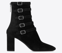 LOU suede ankle boots with multiple buckles