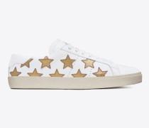 r signature court sl/06 california sneaker aus gebrochen weißem leder und dunkel goldfarbenem metallic-leder