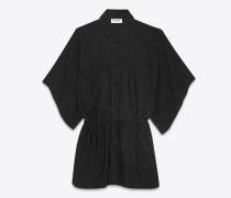 kimono-hemdkleid aus schwarzer seide mit blätterprint