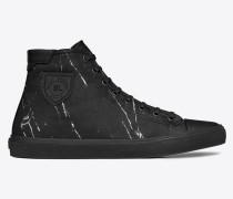 damen - Bedford halbhohe Sneakers aus schwarz-weißem Marmorjacquard