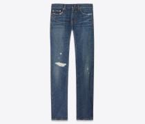 Skinny-Jeans aus indigoblauem Denim mit abgenutzter Optik