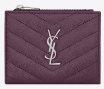 MONOGRAM zippered card case in quilted grain de poudre embossed leather