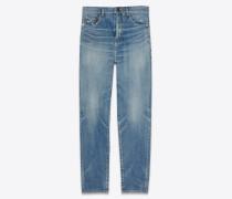 Baggy-Jeans aus abgenutztem, himmelblauem Denim
