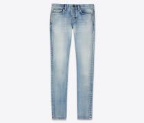 Blaue Skinny-Jeans aus Stretch-Denim im Vintage-Look der 80er Jahre