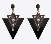 MARRAKECH Clip-Ohrringe in Dreiecksform aus Metall und Harz