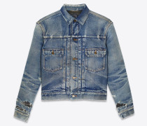 Destroyed denim jacket in '70s blue trash