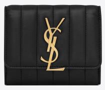 Kompaktes YSL Portemonnaie aus schwarzem Leder
