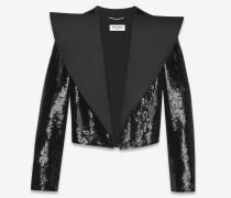 tuxedo blazer aus schwarzem satin mit oversize-kragen und pailletten