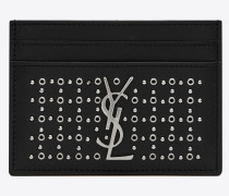 Monogramme Kreditkartenetui aus schwarzem Leder mit silberfarbenen Ösen