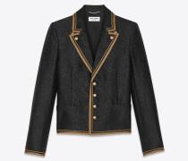 Einreihige Jacke im Military-Stil aus Flanell-Wolle
