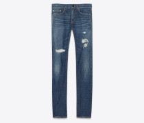 Indigoblaue Skinny-Jeans aus Stretchdenim