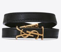 OPYUM doppeltes Armband aus Leder und goldfarbenem Metall