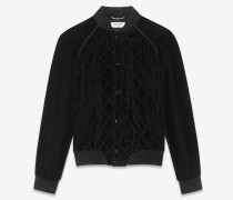 Varsity-Jacke aus schwarzem abgestepptem Samt