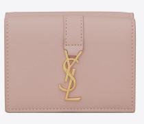 kleines ysl portemonnaie aus puderrosa leder