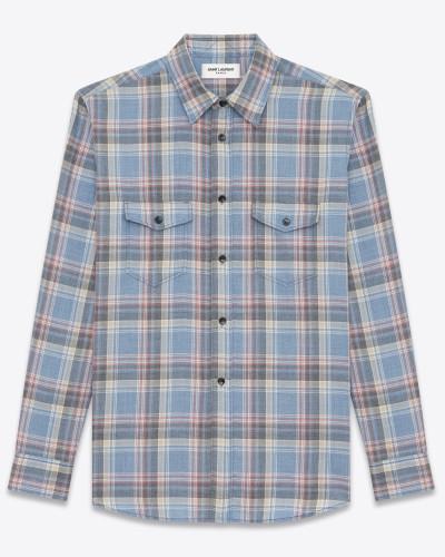 oversize-karohemd aus blauer baumwolle
