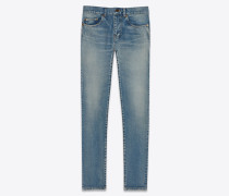 Mittelhohe, eng anliegende Cropped-Jeans aus Stretch-Denim in Santa-Monica-Blau