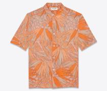 Kurzärmeliges Hemd aus Viskose mit Dschungelblumen-Print
