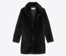 Mantel aus schwarzem Kunstfell mit Raglanärmeln