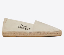 Espadrille aus Stoff mit Saint Laurent-Stickerei