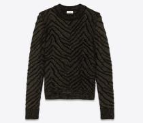 Pullover aus schwarzem Strick und goldfarbenem Lurex mit Zebrastreifen