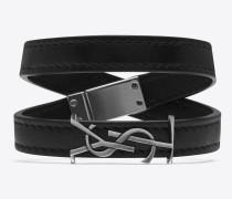 ysl doppeltes wickelarmband aus schwarzem leder und silberfarbenem metall