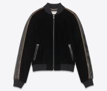 Teddy-Jacke aus schwarzer Velours und Ayers-Schlangenhaut