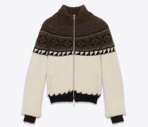 College-Jacke aus elfenbeinfarbenem, schwarzem und braunem Jacquard