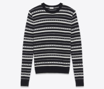 pullover mit rundhalsausschnitt aus schwarz-weiß gestreiftem strick