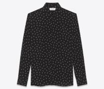Shirt mit Yves Kragen und Eiffelturmprint aus schwarzer Kreppseide