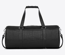 Noé Sporttasche aus schwarzem Leder mit Krokodillederprägung