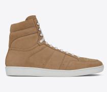 court sl/10 sneakers aus sandfarbenem velours